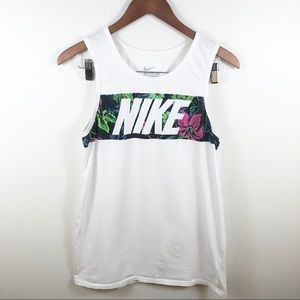 NIKE Tropical Floral White Logo Graphic Tank Small